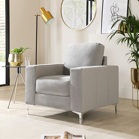 Baltimore Grey Velvet Armchair