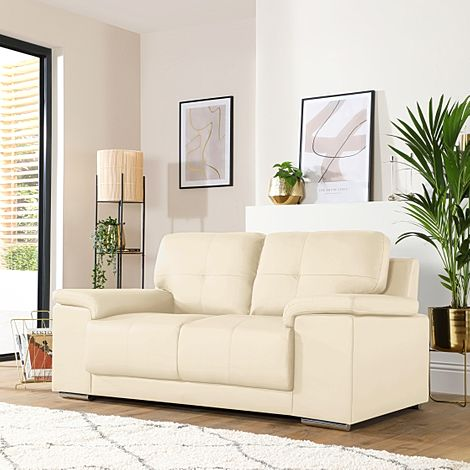 Kansas Ivory Leather 2 Seater Sofa