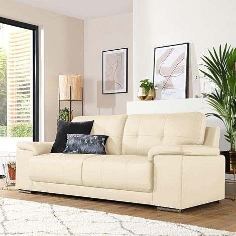 Kansas Ivory Leather 3 Seater Sofa