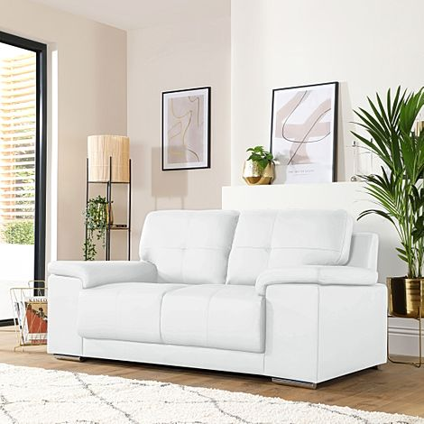 Kansas White Leather 2 Seater Sofa