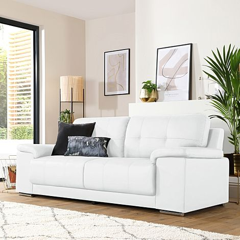 Kansas White Leather 3 Seater Sofa