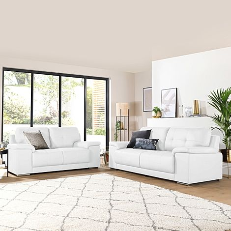 Kansas White Leather 3+2 Seater Sofa Set