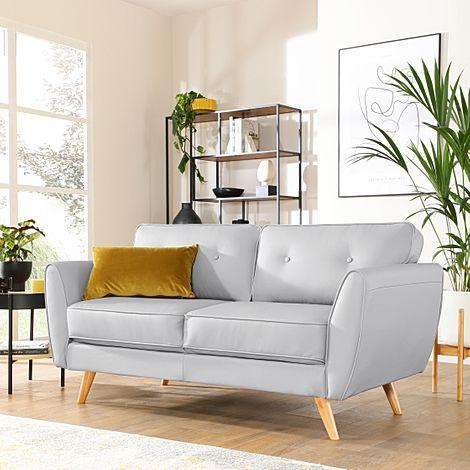 Harlow Light Grey Leather 2 Seater Sofa
