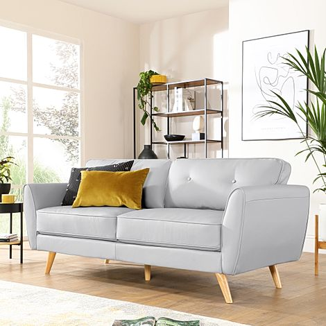 Harlow Light Grey Leather 3 Seater Sofa