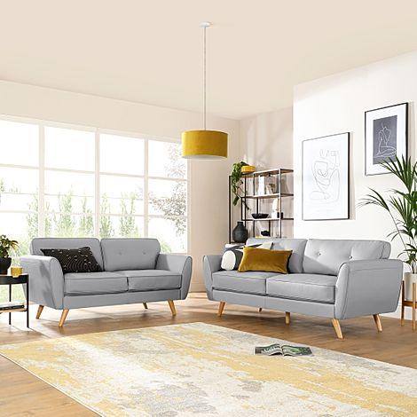 Harlow Light Grey Leather 3+2 Seater Sofa Set