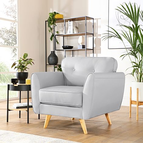 Harlow Light Grey Leather Armchair