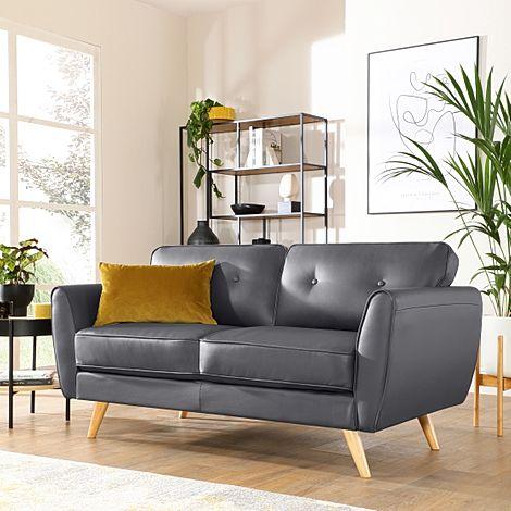 Harlow Grey Leather 2 Seater Sofa