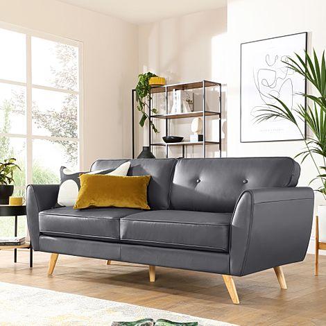 Harlow Grey Leather 3 Seater Sofa