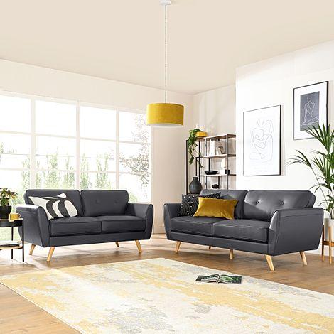 Harlow Grey Leather 3+2 Seater Sofa Set