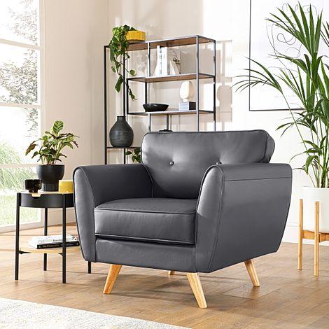 Harlow Grey Leather Armchair