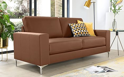Baltimore Tan Leather 3 Seater Sofa