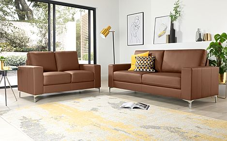 Baltimore Tan Leather 3+2 Seater Sofa Set