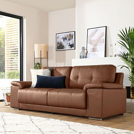 Kansas Tan Leather 3 Seater Sofa