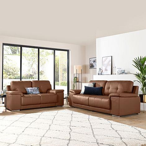 Kansas Tan Leather 3+2 Seater Sofa Set