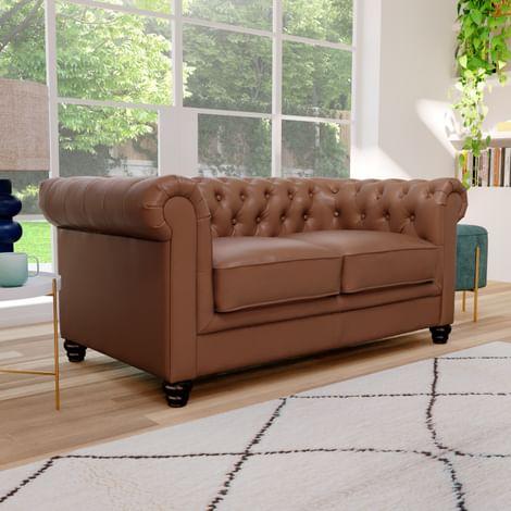 Hampton Tan Leather 2 Seater Chesterfield Sofa