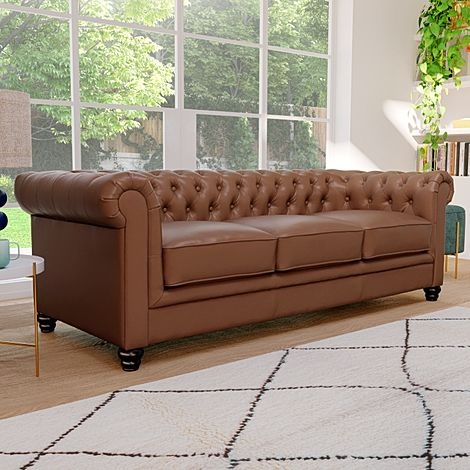 Hampton Tan Leather 3 Seater Chesterfield Sofa