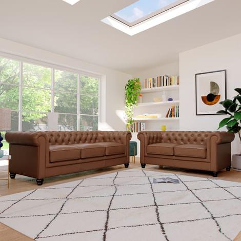 Hampton Tan Leather 3+2 Seater Chesterfield Sofa Set