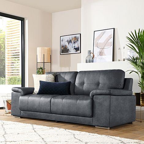 Kansas Vintage Grey Leather 3 Seater Sofa