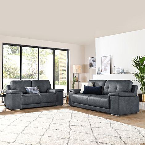 Kansas Vintage Grey Leather 3+2 Seater Sofa Set