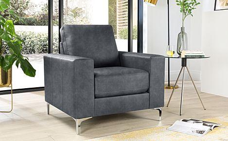Baltimore Vintage Grey Leather Armchair