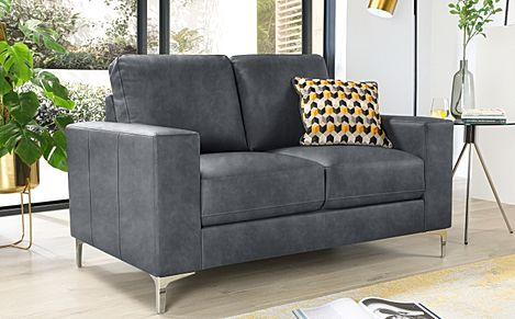 Baltimore Vintage Grey Leather 2 Seater Sofa