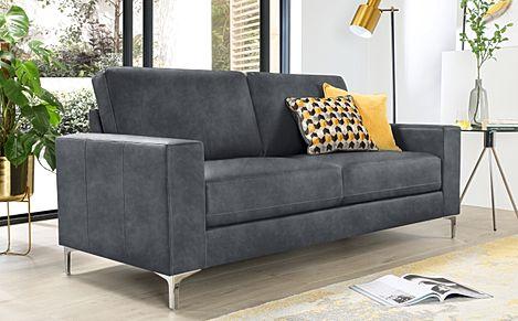 Baltimore Vintage Grey Leather 3 Seater Sofa