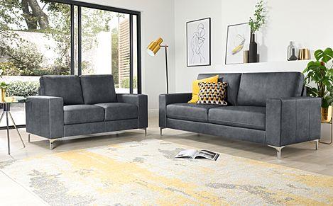 Baltimore Vintage Grey Leather 3+2 Seater Sofa Set