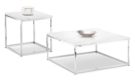 Roma White Marble and Chrome Coffee and Side Table Set
