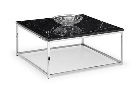 Roma Black Marble and Chrome Coffee Table