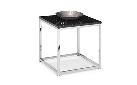 Roma Black Marble and Chrome Side Table