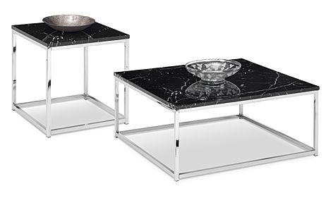 Roma Black Marble and Chrome Coffee and Side Table Set