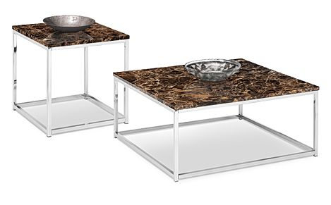 Roma Brown Marble and Chrome Coffee and Side Table Set
