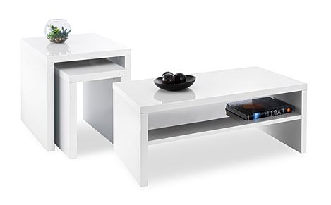 Strand White Gloss Coffee and Side Tables Set