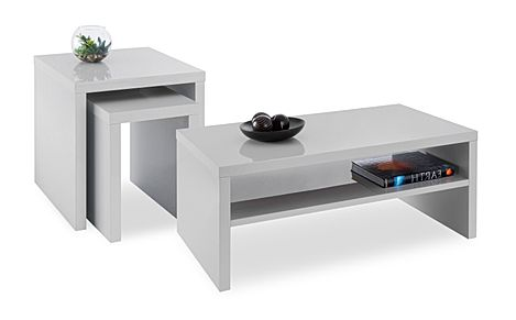 Strand Grey High Gloss Coffee and Side Tables Set