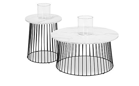 Pavilion Round Marble and Black Metal Coffee and Side Table Set