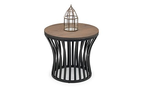 Bailey Round Elm and Black Metal Side Table