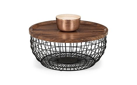 Lancaster Round Walnut and Black Metal Storage Coffee Table