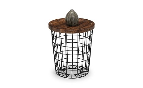 Lancaster Round Walnut and Black Metal Storage Side Table