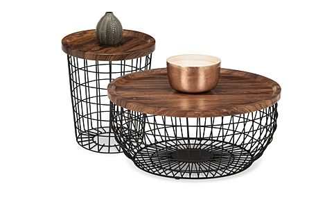 Lancaster Round Walnut and Black Metal Storage Coffee and Side Table Set