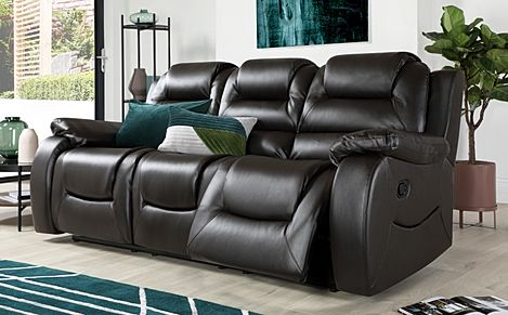 Vancouver Brown Leather 3 Seater Recliner Sofa