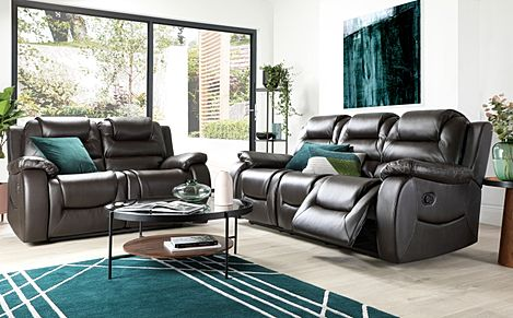 Vancouver Brown Leather 3+2 Seater Recliner Sofa Set