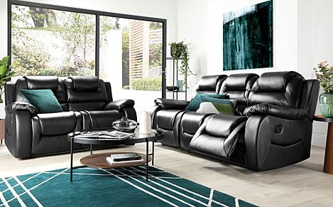 Vancouver Black Leather 3+2 Seater Recliner Sofa Set