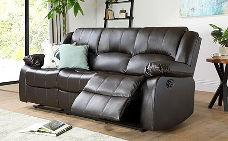 Dakota Brown Leather 3 Seater Recliner Sofa