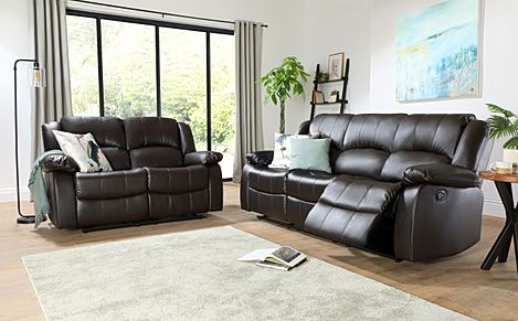 Dakota Leather Recliner Sofa Suite 3+2 Seater - Brown