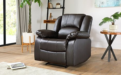 Dakota Leather Recliner Armchair - Brown