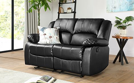 Dakota Black Leather 2 Seater Recliner Sofa