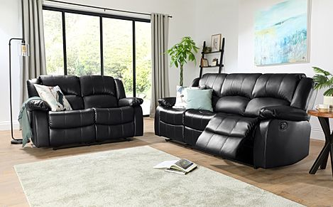 Dakota Leather Recliner Sofa Suite 3+2 Seater - Black