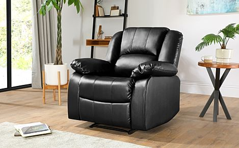 Dakota Black Leather Recliner Armchair