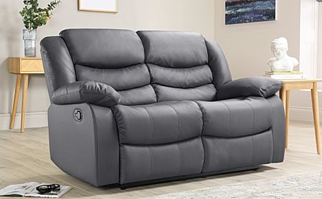 Sorrento Grey Leather Recliner Sofa 2 Seater