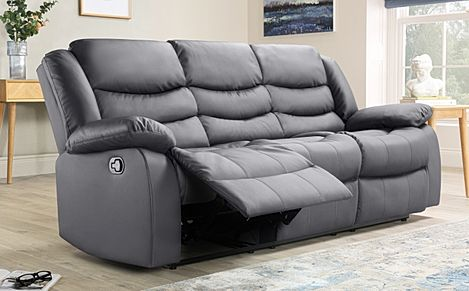 Sorrento Grey Leather 3 Seater Recliner Sofa